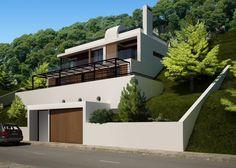 Grupo-Construcasa-Arquitectura-Construcción Minimal House Design, Duplex House Design, House Front Design, Minimal Home, House Built Into Hillside, Stone House Plans, Houses On Slopes, Casas Containers, Rest House