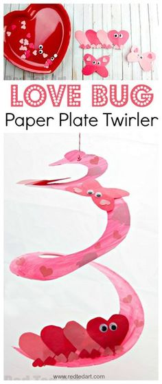 Love Bug Paper Plate Twirler. Oh my, this is such a super duper CUTE Valentine's Day Craft for Preschoolers. We love exploring shapes and creating our own LOVE BUGS.. and we love a Paper Plate Whirligig craft.. #valentines #valentinesdecoration #preschooler #whirligig #twirler #paperplate