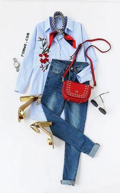 Blue Stripe Embroidery High Low Split Side Shirt Dress