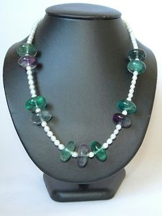 Fluorite Beaded Necklace with Pearls, Gemstone Beaded Necklace, Multi Color Necklace, Multi Gem Necklace, Handmade Item, Green Necklace by AngelSCollection on Etsy