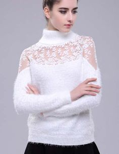 Fashionable sancy high neck hollow-out lace stitch solid sweater XK-A-4116-036