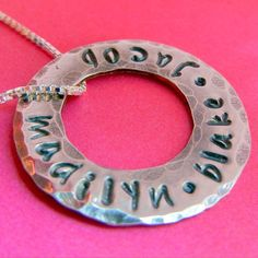 Personalized Necklace Mothers Washer Jewelry Hand by ERiaDesigns, $30.00