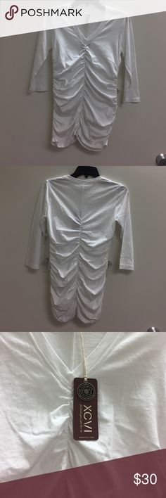 XCVI White Top -V-Neck-Size XS - NWT XCVI White Top -V-Neck- 3/4 Sleeve-Ruched Front and Back as Pictured -Size XS- 100% Cotton -NWT XCVI Tops Tees - Long Sleeve
