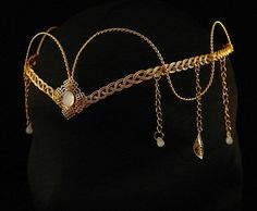 Piedra lunar ren medieval diadema oro tiara ARWEN ELVEN