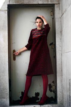 """Платья ручной работы. Ярмарка Мастеров - ручная работа. Купить Платье """"Снегири"""". Handmade. Теплое платье, темно-красный"""