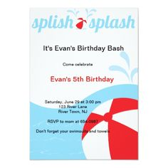 Shop Splish Splash Birthday Pool Party Invitations created by MyExpression. Pool Party Birthday Invitations, Birthday Bash, Girl Birthday, Birthday Ideas, Kids Water Party, Red Beach, Splish Splash, Cool Pools, Love Messages