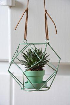 Vous l'aurez remarqué les terrariums et les plantes suspendues ont le vent en poupe. Alors ni une ni deux j'ai transformé un photophore en cache pot suspendu...