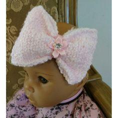 Hand Knit Newborn Bow Headband