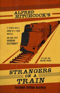 """Alfred Hitchcock's Strangers on a Train  - Vintage Styled Poster 11""""x17"""""""