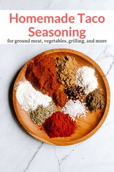 Delicious and easy homemade taco seasoning that can be made with spices you already have on hand. Easy to use and tastes amazing! Ww Recipes, Mexican Food Recipes, Great Recipes, Cooking Recipes, Potato Recipes, Drink Recipes, Recipe Ideas, Dinner Recipes, Sauces