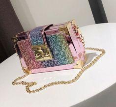 💖Mermaid Rainbow Glitter PINK Gold Clutch Small Purse Shoulder-Bag Girl  Women💖  4038d8169001