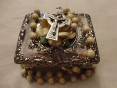 Vintage Sterling Silver ROSARY Marble Glass Irish Floral Silver Metal Box