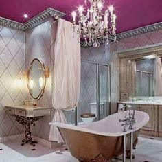 Girls bathroom, silver crown molding & chandelier with color ceiling. Cute