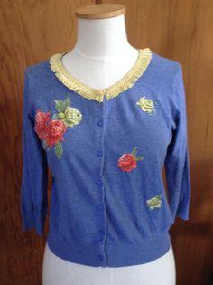 Embellished cardigan - tablecloth flower motifs, vintage fringe trim, vintage button