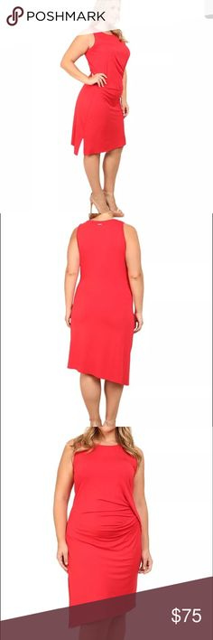 Michael Kors plus size sleeveless dress. B073 Michael Kors plus size sleeveless open crew neck drape dress in 1x. Retail $110. New with tags. True red. You will turn heads as you walk by in this Michael Kors dress. It flaunts a stretch viscose fabrication that elegantly drapes the body for a flattering silhouette. Crew neckline. Sleeveless design. Brand plate at the back neck. Twist details at left hip creates an eye catching look. Asymetrical hemline with side vent. Viscose and elastane…