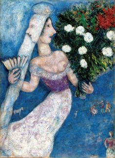From Dallas Museum of Art, Marc Chagall, The Bride with Two Faces (La mariée à double face) Oil on canvas transposed, relined, 99 × 73 in Marc Chagall, Artist Chagall, Chagall Paintings, Pablo Picasso, Monet, Chaim Soutine, Art Ancien, Atelier D Art, Fauvism