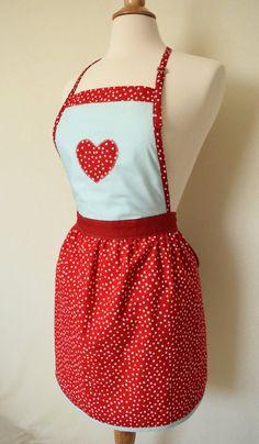 Red Dot Valentine Apron Red U0026 Blue Dotty By TheWinsomeWallflower