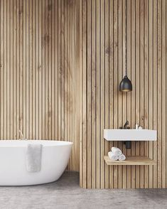 If the idea is to build some DIY Bathroom Pallet Projects Bathroom Styling, Bathroom Interior Design, Home Interior, Interior Design Living Room, Wood Slat Wall, Wooden Wall Panels, Wooden Walls, Wooden Wall Bathroom, Small Bathroom