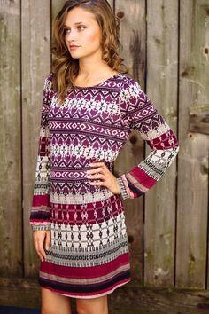 gilt   gossamer - Tribal Print Long Sleeve Shift Dress, (http://www.giltandgossamer.com/tribal-print-long-sleeve-shift-dress/)