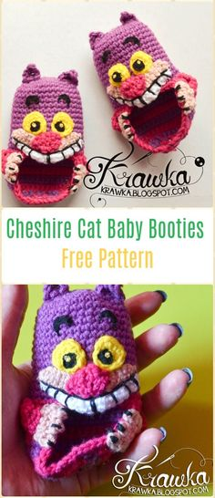 Crochet Cheshire Cat Baby Booties Free Pattern - Fun Crochet Baby Booties Free Patterns