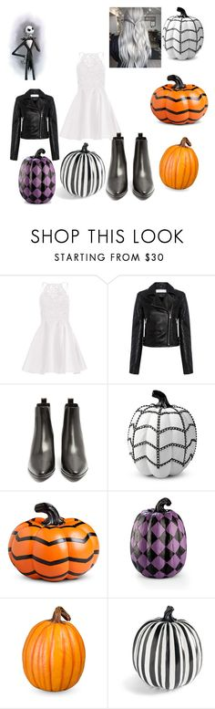 """""""Jack Skellington (girl version)"""" by ncis-lover-dinozzo ❤ liked on Polyvore featuring Alyce Paris, IRO .JEANS, Yves Saint Laurent, Improvements and Grandin Road"""