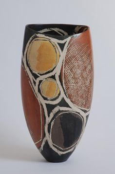 Ceramics by Carolyn Genders at Studiopottery.co.uk - Ochre Chalcedony Open Vessel (2007) 42hx13dx22w
