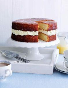 "Lemon Drizzle Layer Cake ~ with lemon curd & cream cheese filling | recipe by ""Great British Bake Off"" s2 winner Jo Wheatley, via Sainsbury's Magazine"