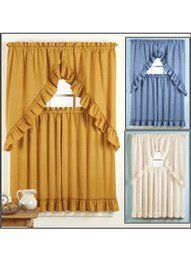 """4-Piece Ruffled Curtain Set - 29""""W x 36""""L, Color Blue by Carol. $5.99. This four-piece ruffled curtain set will add classic beauty to any room in your home. Set includes two-piece swag valance (each 29""""W x 38""""L) and two tiers. Polyester/cotton. Made in the USA. Machine wash and dry."""