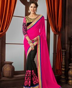 Buy Statuesque Pink Fashion Saree online at  https://www.a1designerwear.com/statuesque-pink-fashion-sarees-2  Price: $47.18 USD