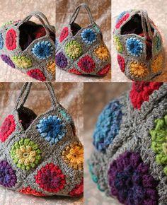 le crochet me manquait. Crochet Granny, Knit Crochet, Crochet Hats, Crochet Handbags, Crochet Purses, Sac Granny Square, Japanese Bag, Macrame Bag, Fabric Yarn