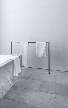 Main Ensuite - loving this simple towel rails (could also use a smaller version for guest ensuite) Minimal Bathroom, Modern Bathroom, Boho Bathroom, Bathroom Lighting, Bathroom Inspiration, Bathroom Ideas, Bathroom Plants, Budget Bathroom, Bathroom Renovations