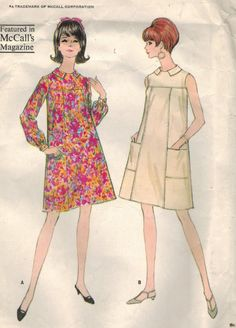 McCalls 8590: Use this 1960s vintage sewing pattern for misses to sew a cute A-line dress with a comforatble tent silhouette. Featured in McCalls Magazine, this marvy dress is easy to sew!  Dress features: - flared tent silhouette - front yoke - straight princess seams in front - optional patch pockets - Bermuda collar - sleeveless or long sleeves gathered to buttoned cuffs - back zipper closing  Mod style from 1966!  Size 14 Bust 34 in Waist 26 in Hip 36 in  Pattern is complete, with…