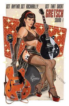 Gretsch guitar pin up girl Rockabilly Moda, Rockabilly Artwork, Rockabilly Music, Pin Up Retro, Dibujos Pin Up, Pin Up Posters, Girl Posters, Estilo Rock, Guitar Girl