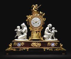A Directoire ormolu, griotte marble and Sèvres porcelain mantel clock, Joseph Revel, Paris, circa 1795