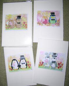 wedding greeting card watercolor print cat owl penguin by elisatta