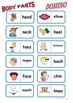 Body Parts, domino worksheet - Free ESL printable worksheets made by teachers English Worksheets For Kids, English Games, English Lessons For Kids, Kids English, English Activities, English Words, Learn English, English English, Ingles Kids