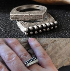 ► MEASUREMENTS: I carved this one of a kind ring in wax, giving it a unique texture, then I cast it in sterling silver using the lost-wax method. I