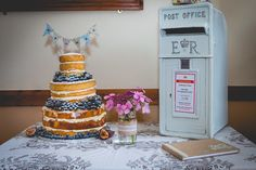 Naked Cake Bunting Post Box Pretty Home Made Country Village Hall Wedding http://www.alexapoppeweddingphotography.com/