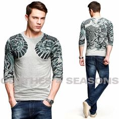 Fashion Dragon tattoo t shirts men slim fit wear lycra cotton mens t shirt brand Kuegou MT-9917 $31.58