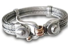 Unisex Bracelet Braided Sterling Silver with 9k by cremerdani, $662.00
