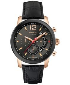 Breil Milano Men's Chronograph Miglia Black Croc-Embossed Leather Strap Watch 44mm TW1264