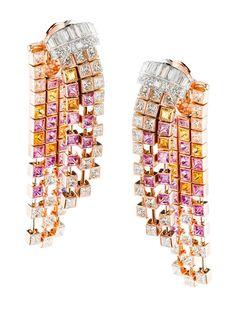 Boucheron 'Mosaique Delilah' Diamond & Colored Sapphire Earrings