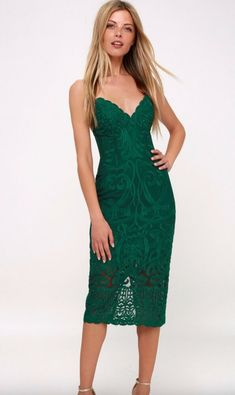 551f29f7 Bardot Gia Lace Bodycon Midi Dress Forest Green Size 4- ChicEwe #affilink  Green Lace