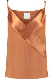 Dion Lee Satin-paneled silk camisole