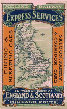 """From the Archive - Midland Railway Advert - 1903 """"From the Archive Midland Railway Advert – 1903 Another hand bill, this time a national… """" View Post Posters Uk, Train Posters, Railway Posters, Train Map, Train Travel, Passport Online, Apply For Passport, British Travel, Railway Museum"""