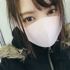 Half Mask, Mask Girl, Hoop Earrings, Girls, Face Masks, Beauty, Fashion, Asian Beauty, Toddler Girls
