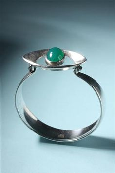 Bracelet by Nils Erik From: Sterling silver and green stone. Denmark. 1960's