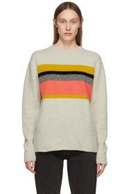 The Elder Statesman - Beige Cashmere Gofa Stripe Sweater