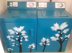 Spray Painted then free handed my now awesome washer and dryer!  Finally, I enjoy opening the laundry room door ;)