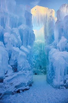 Ice castles at Loon Mountain in New Hampshire.